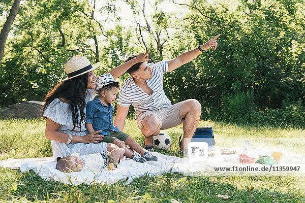 Eltern zeigen mit Säuglingen und Kleinkindern auf eine Picknickdecke im Pelham Bay Park  Bronx  New York  USA