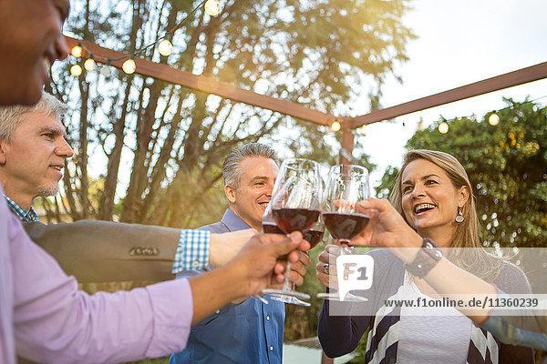 Reife Freunde im Kreis  die auf der Gartenparty einen Rotwein-Toast ausbringen