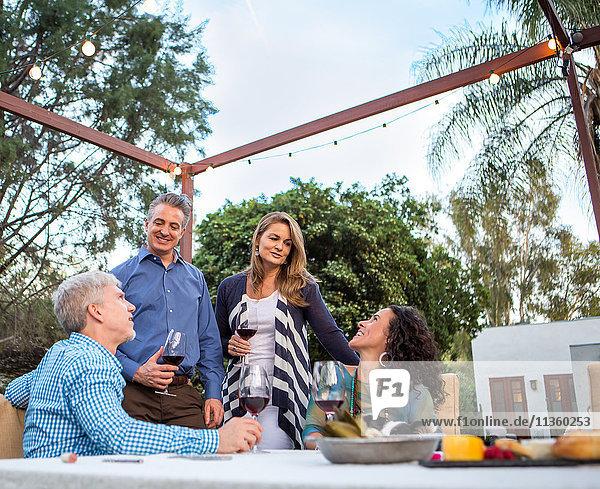 Reife Paare unterhalten sich am Gartenparty-Tisch