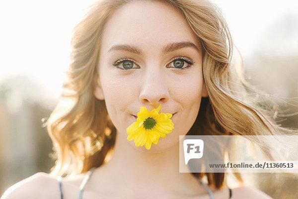 Bildnis einer jungen Frau mit gelber Blume im Mund