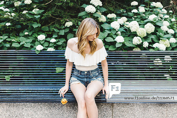 Young woman sitting on bench  holding yellow rose  looking away