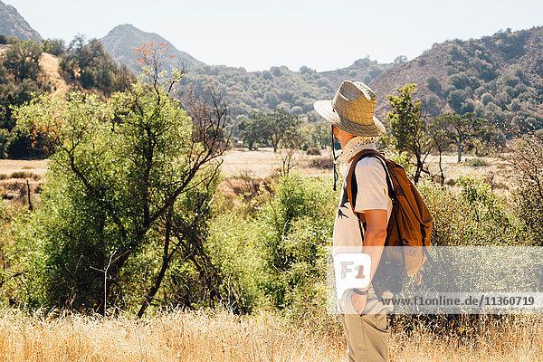 Man hiking looking away at view of mountains  Malibu Canyon  California  USA