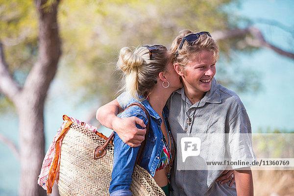 Couple hugging  smiling  Majorca  Spain
