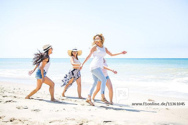 Vier erwachsene Freundinnen treiben sich am Strand herum  Malibu  Kalifornien  USA