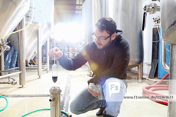 Worker in brewery  checking alcohol and sugar content of product