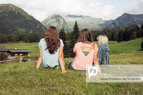 Rear view of three female adult friends looking out at Austrian Alps  Sattelbergalm  Tirol  Austria