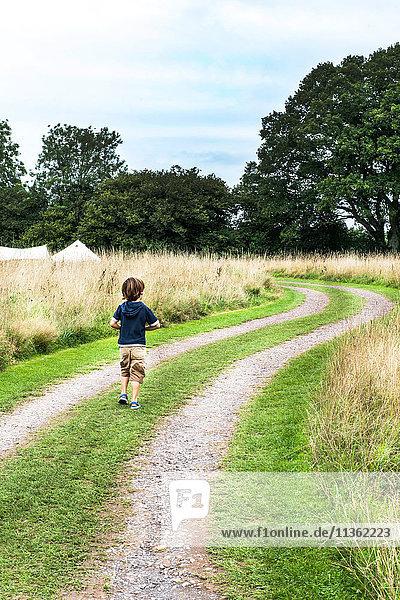 Rückansicht eines Jungen  der auf einem Feldweg geht