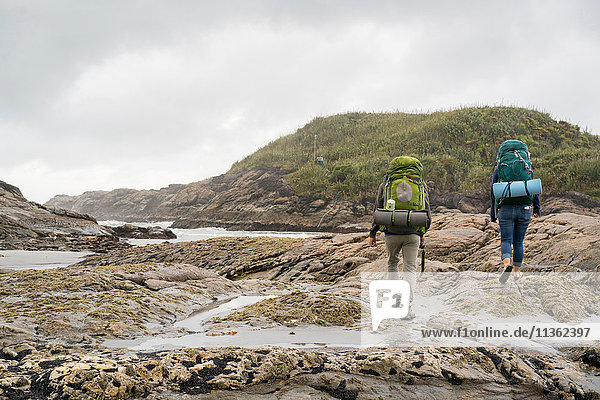 Young couple trekking over tide pools  rear view  Constant Bay  Charleston  South Island  New Zealand
