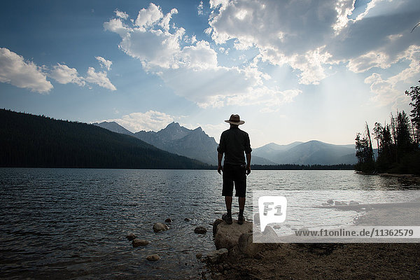 Rear view of man looking at view over Stanley lake  Idaho  USA