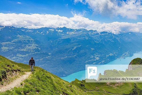 Man on mountain path  Brienzer Rothorn  Bernese Oberland  Switzerland