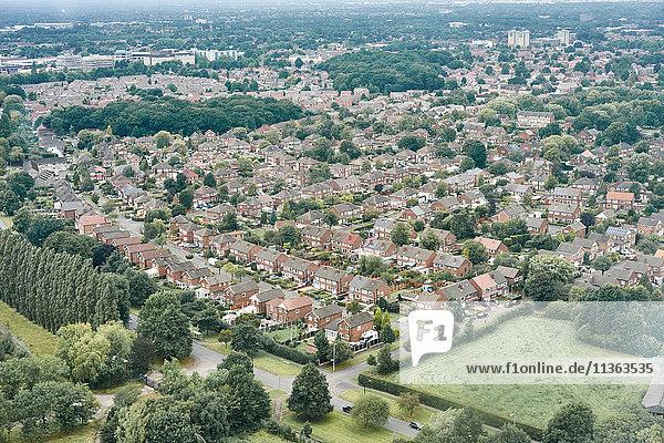 Luftaufnahme der Vorstadt  Altrincham  Cheshire  England