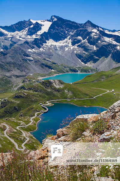 Scenic view of alps and lake  Colle del Nivolet  Piedmont  Italy