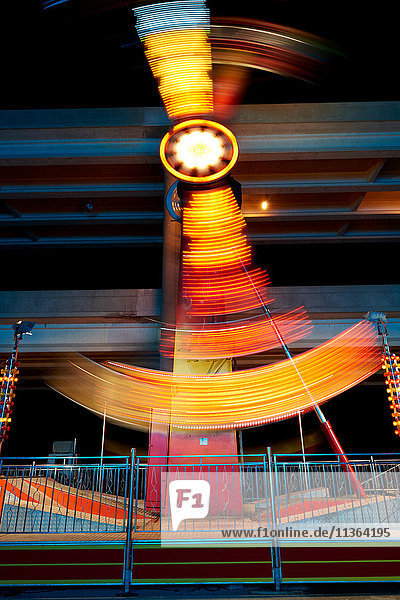 Fairground ride at night  long exposure