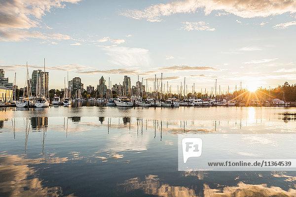 Yachthafen und Stadtsilhouette in der Abenddämmerung  Vancouver  Kanada