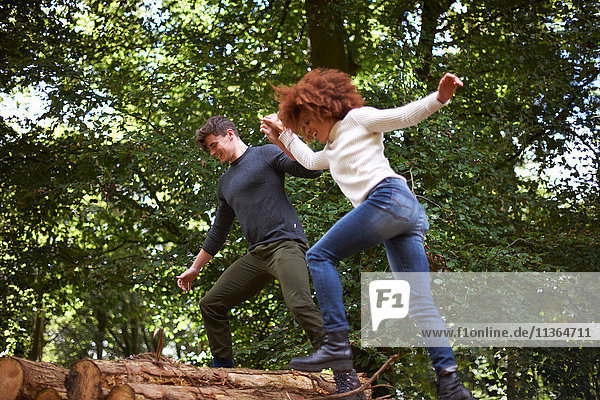 Couple in forest holding hands balancing on fallen tree