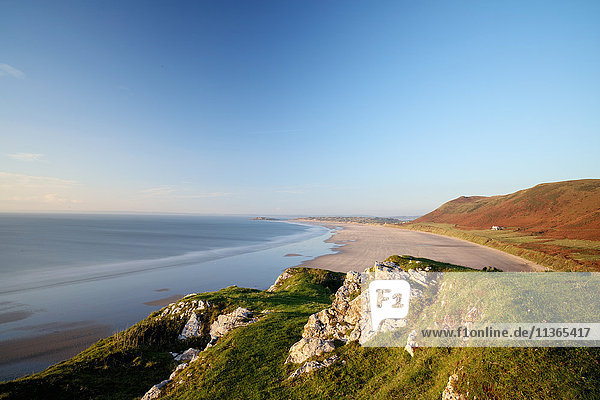 View of Rhossili bay  Gower  Wales