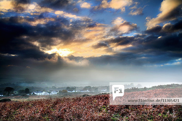 View of Reynoldston village in mist from bracken  Gower  Wales