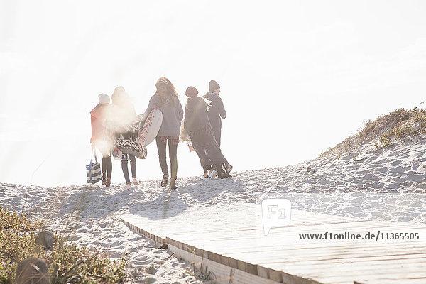 Rückansicht junger erwachsener Freunde beim Spaziergang auf der sonnenbeschienenen Strandpromenade am Strand  Western Cape  Südafrika