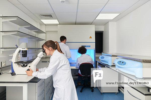 Wissenschaftlerin im Labor beim Blick durchs Mikroskop