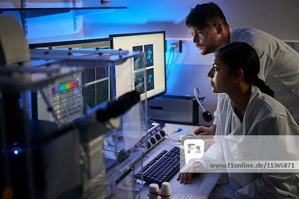 Scientists in laboratory using computer