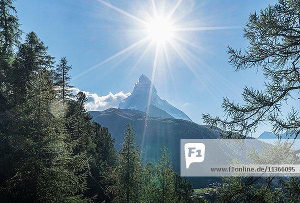 Sunlit view of Matterhorn  Zermatt  Canton Wallis  Switzerland