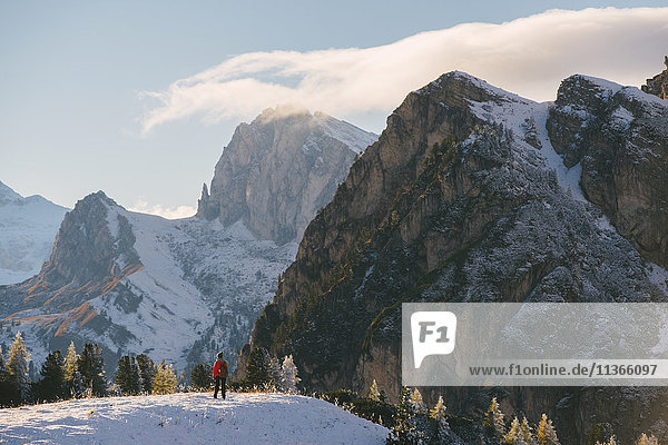 Young woman looking at view  Limides Lake  South Tyrol  Dolomite Alps  Italy