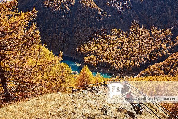 Familie auf Bank sitzend  Hochwinkelansicht  Schnalstal  Südtirol  Italien