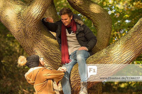Junger Mann sitzt im Baum und schaut auf junge Frau am Boden