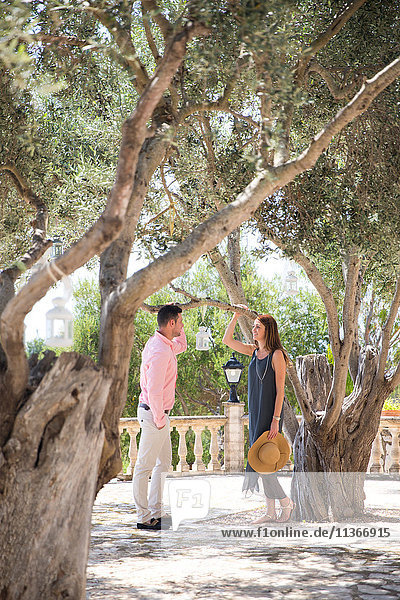 Couple among olive trees in boutique hotel garden  Majorca  Spain