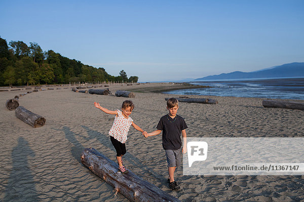 Children playing on beach  Vancouver  British Columbia  Canada