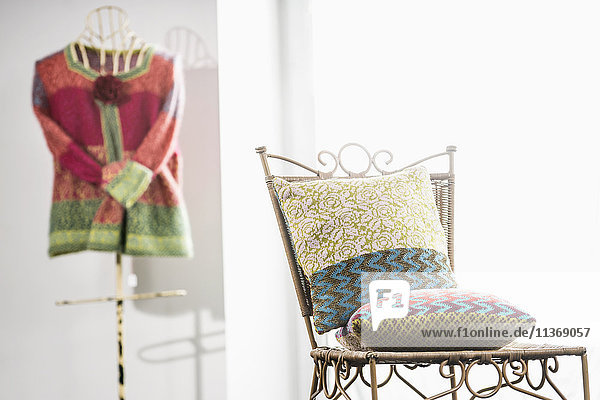 Two cushions on chair Two cushions on chair