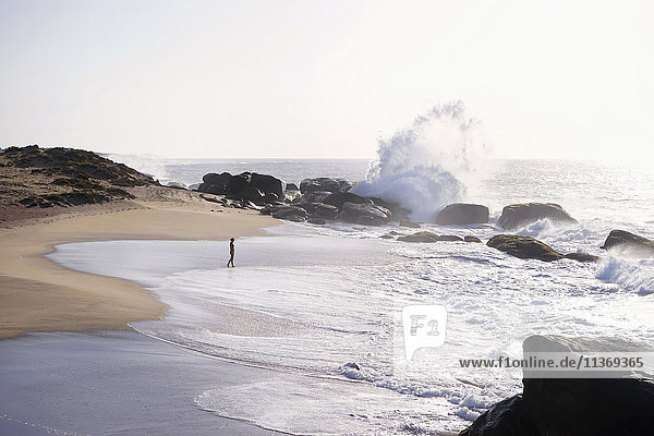 Woman walking on the beach  Western Province  Sri Lanka