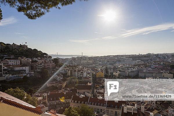 Aerial view of a city  April 25th Bridge  Lisbon  Portugal