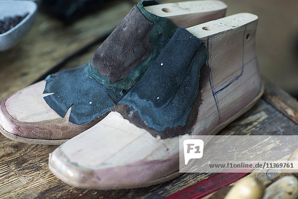 Close-up of wooden shoe stretcher