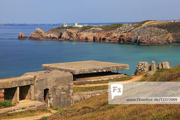 Frankreich  Bretagne  Halbinsel Crozon. Toulinguet-Umhang. Atlantikwall.