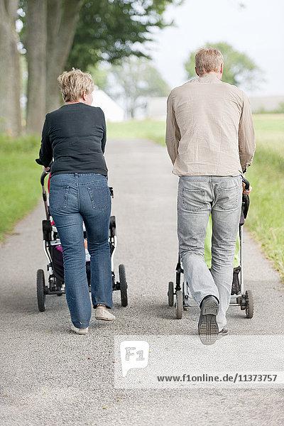 Parents taking children for walk