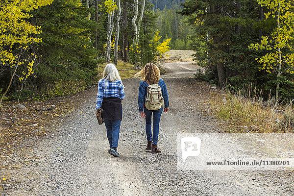 Caucasian women walking on forest path