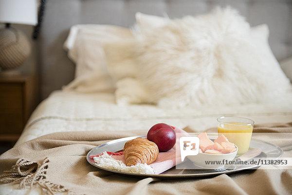 Breakfast on tray in bed