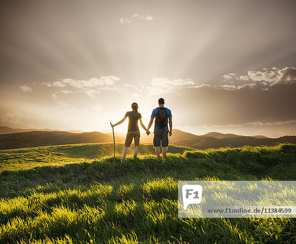 Couple holding hands on hill at sunset