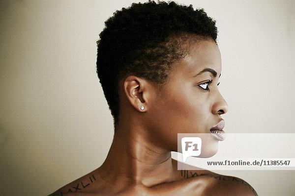 Profile of serious Black woman