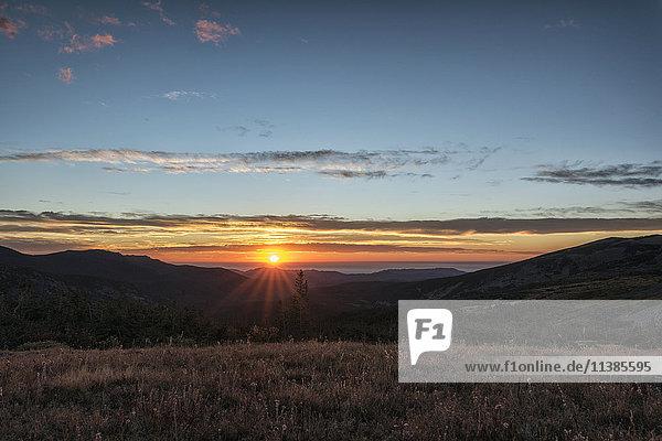Sunset on mountain landscape