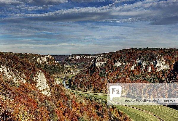 Herbst im Oberen Donautal  Ausblick vom Eichfelsen in Irndorf  links Schloss Werenwag  Irndorf  Schwäbische Alb  Baden-Württemberg  Deutschland  Europa