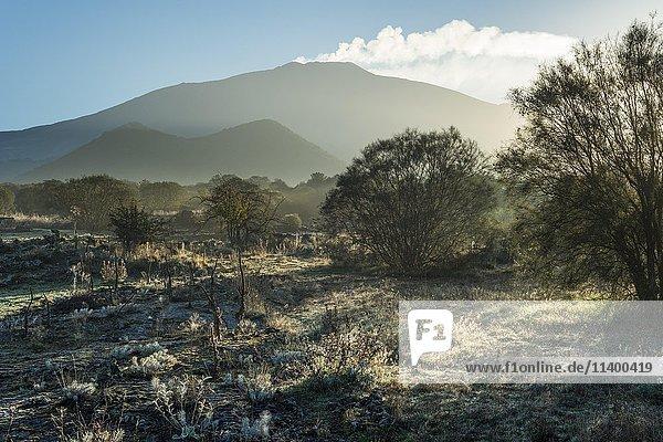 Hochebene Piano dei Grilli  Morgen  hinten Vulkankegel Monte Ruvolo und Vulkan Ätna  Westflanke  Bronte  Sizilien  Italien  Europa