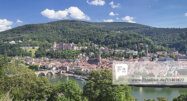 View of historic centre with Karl Theodor Bridge and castle from the Philosopher's Walk in Heidelberg  Baden-Württemberg  Germany  Europe