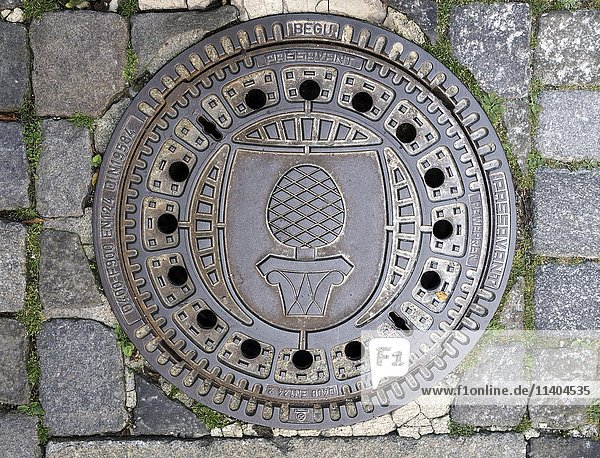Gusseisener Kanaldeckel mit Zirbelkiefer,  Stadtwappen von Augsburg,  Augsburg,  Bayern,  Deutschland,  Europa