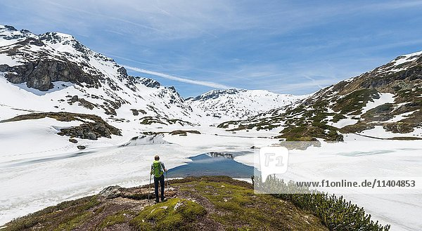 Junger Mann  Wanderer blickt auf einen zugefrorenen See  Unterer Giglachsee  Berglandschaft mit Schneeresten  Rohrmoos-Obertal  Schladminger Tauern  Schladming  Steiermark  Österreich  Europa