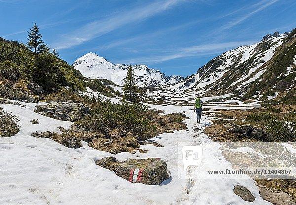 Junger Mann  Wanderer geht durch Berglandschaft mit Schneeresten  Rohrmoos Obertal  Schladminger Tauern  Schladming  Steiermark  Österreich  Europa