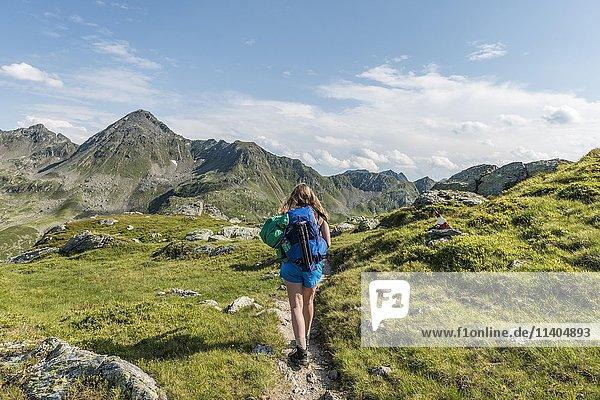 Hiker on a trail  Schladming Tauern  Schladming  Styria  Austria  Europe