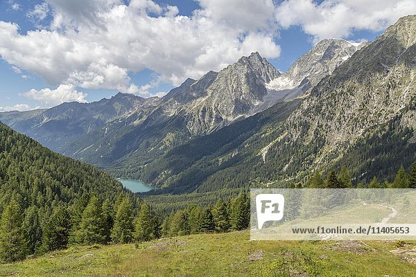 Alpine panorama with Lake Antholz and Rieserferner Group  Austrian Central Alps  view from Staller Saddle  Central Eastern Alps  Antholz Valley  South Tyrol  Italy  Europe