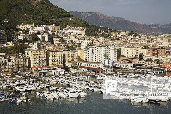 Yachts and pleasure craft in Salerno marina  Campania  Italy  Europe